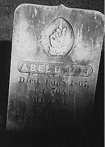 Abel Blood's headstone, Hollis, NH