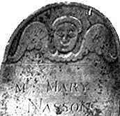 Footstone at Mary Nasson's grave