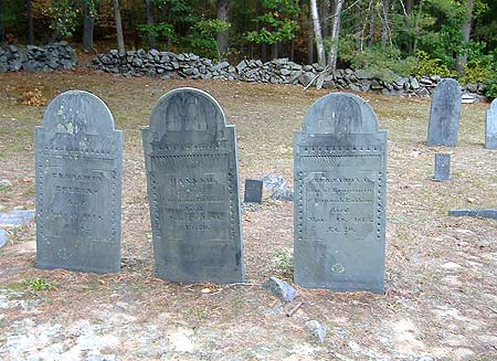 Several gravestones at Gilson Rd Cemetery