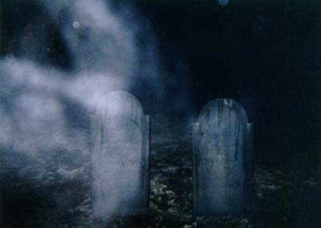 ghostly mist in haunted NH cemetery