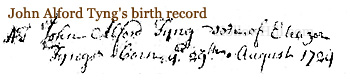 John Alford Tyng's birth record
