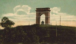 Vintage postcard showing the Tilton Memorial Arch, Northfield, NH