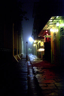 NOLA - Pirates Alley, on a foggy, rainy night