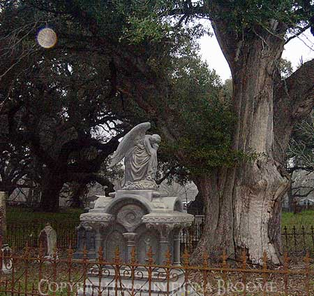 Haunted monument at Columbus City Cemetery, TX - daytime photo, no flash