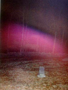 Purple streak of light at Gilson Road cemetery