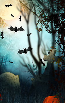 cemetery at Halloween