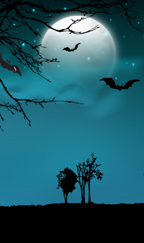 ghostly scene with trees and a moon