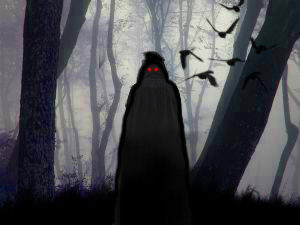 Hooded figure with red eyes