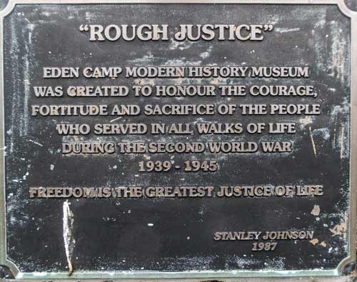 Eden Camp plaque, Malton, England